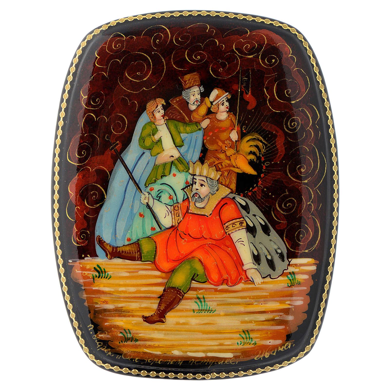 Scatola di lacca russa Il galletto d'oro Palech 4