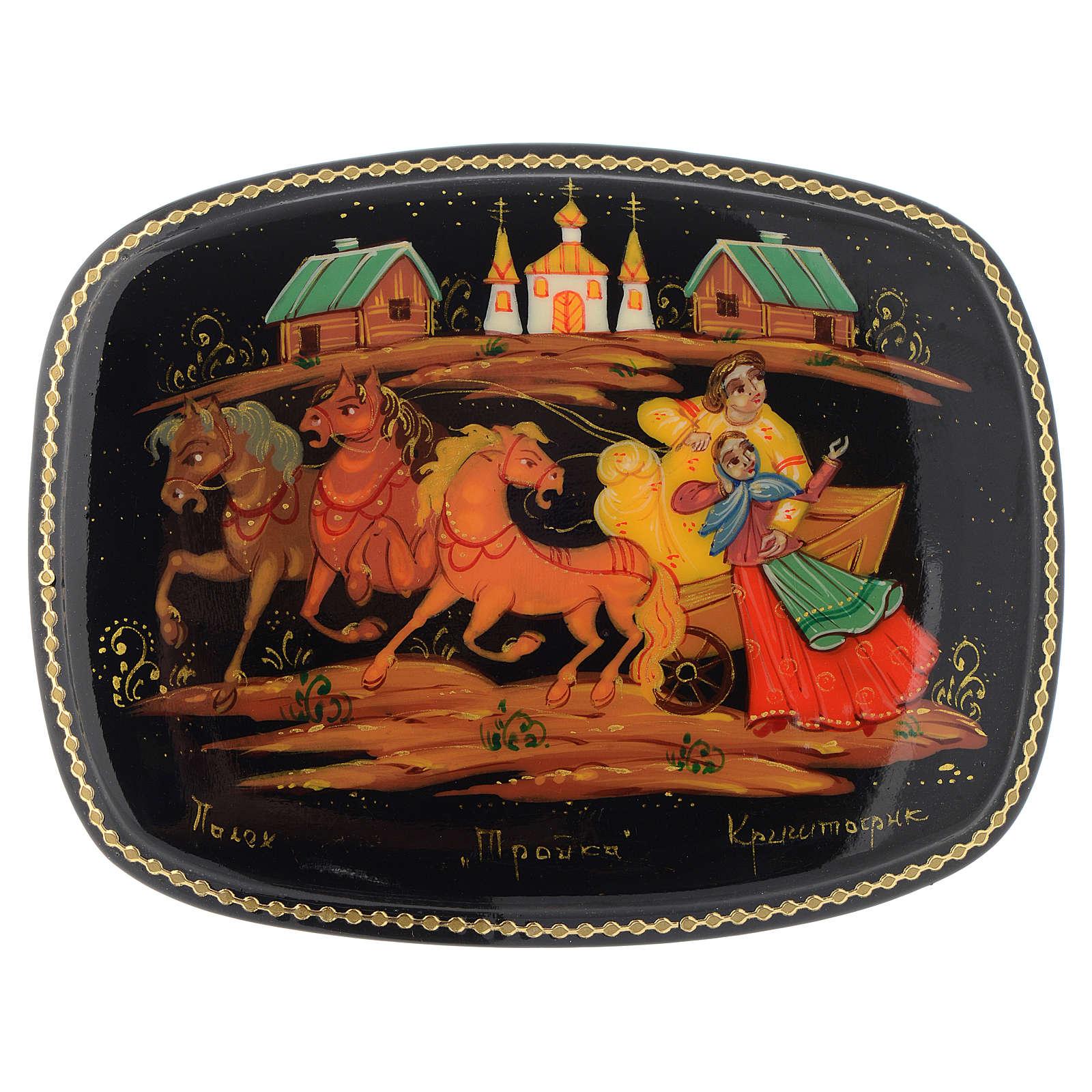 Russian lacquer box Troika, Palekh 4