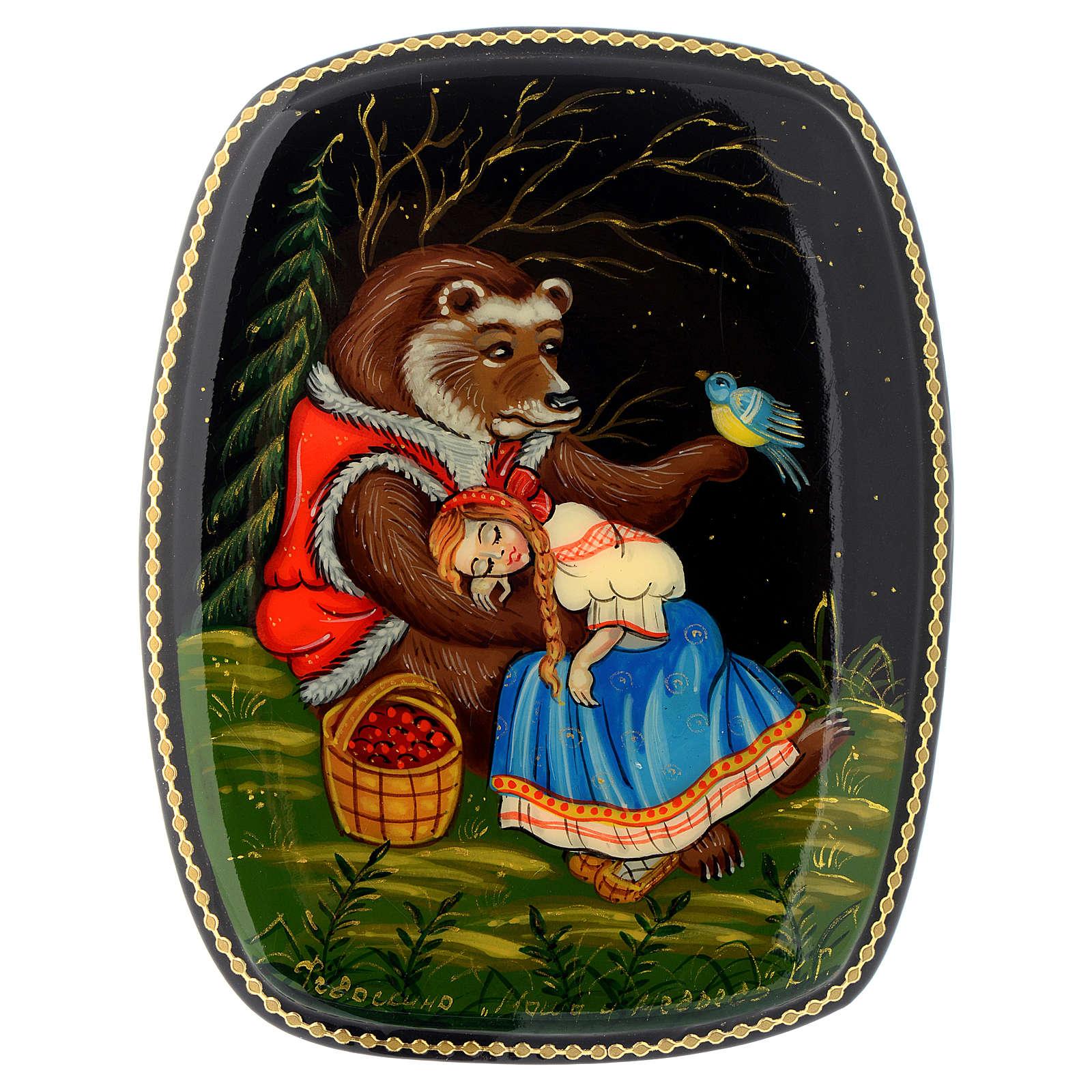 Lacca russa papier-machè Maria e l'orso Fedoskino 4