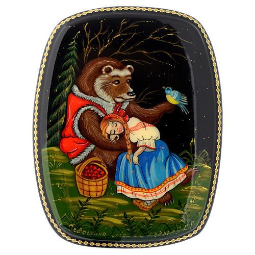 Lacca russa papier-machè Maria e l'orso Fedoskino 1