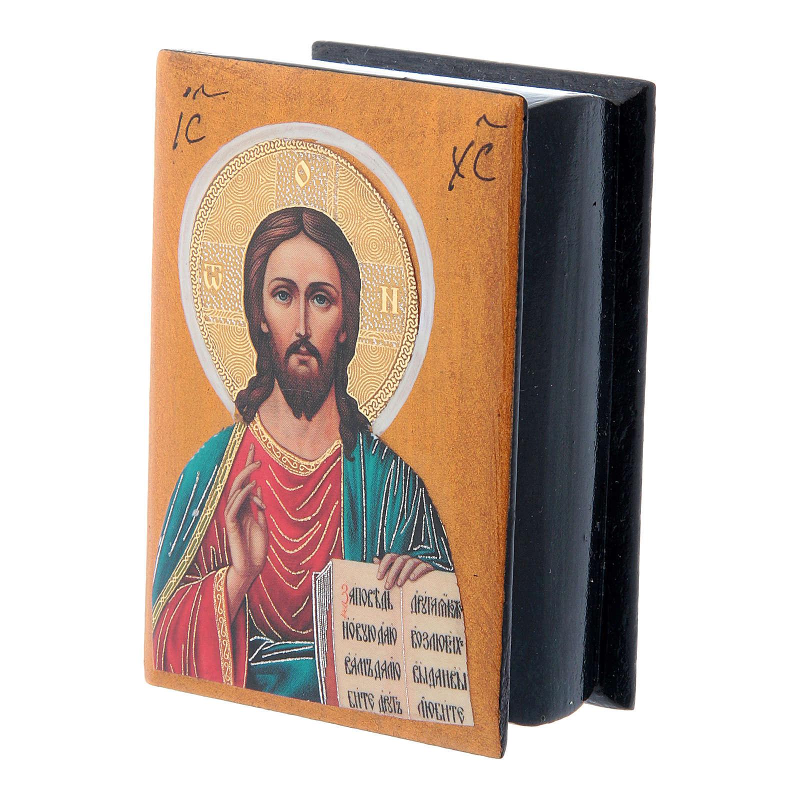 Russian lacquer box Christ Pantocrator 7X5 cm 4