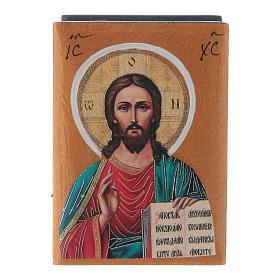 Russian lacquer box Christ Pantocrator 7X5 cm s1