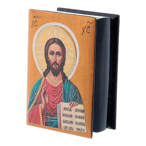 Russian lacquer box Christ Pantocrator 7X5 cm 2