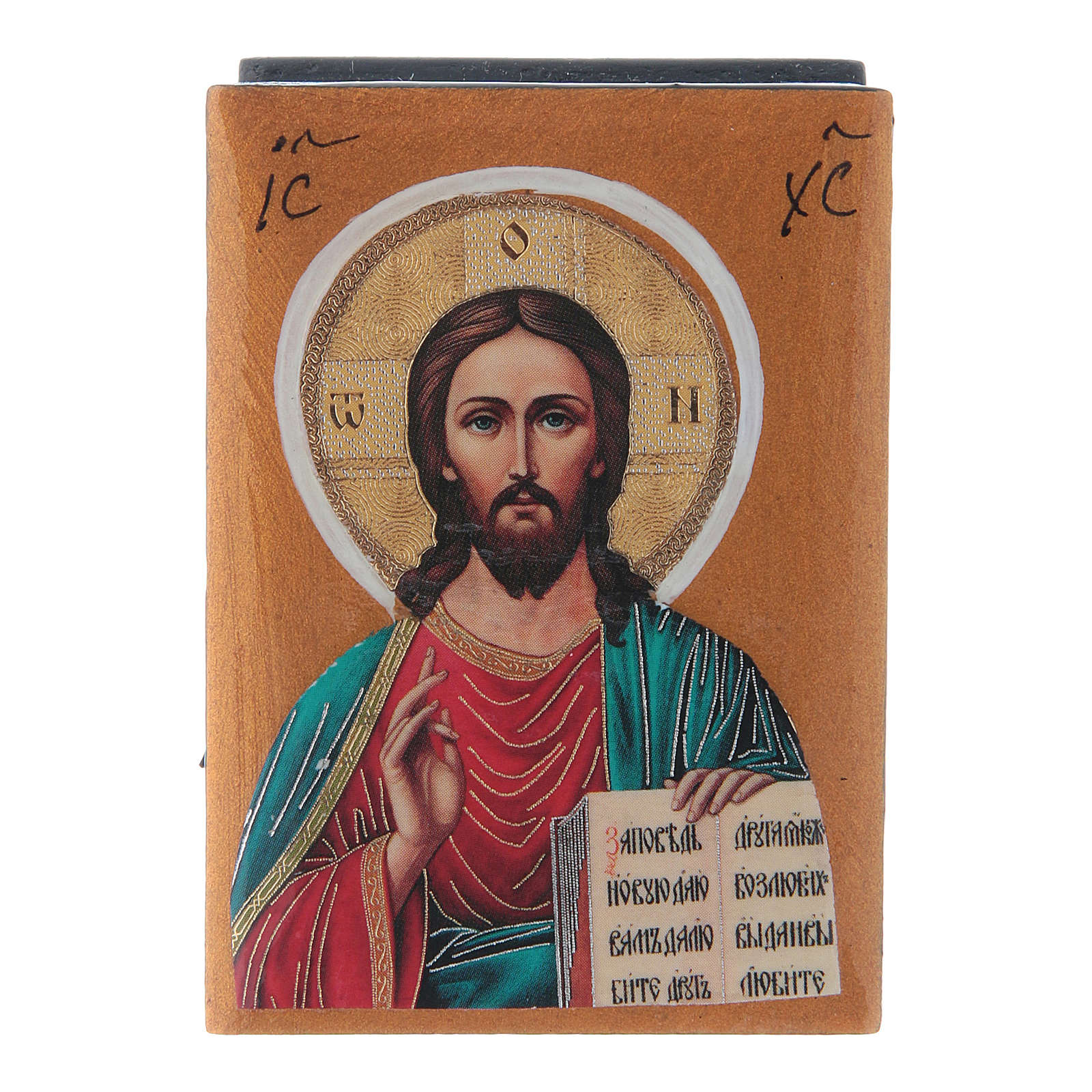 Caja laca rusa Cristo Pantocrátor 7x5 cm 4