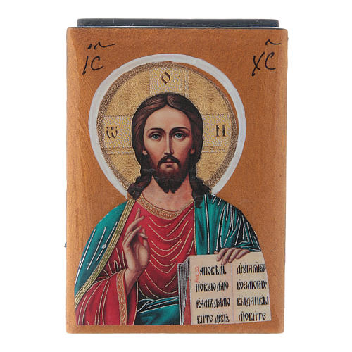Scatola laccata russa Cristo Pantocratore 7X5 cm 1