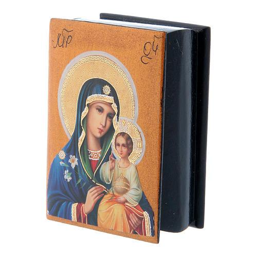 Scatola russa lacca papier machè Madonna del Giglio Bianco 7X5 cm 2
