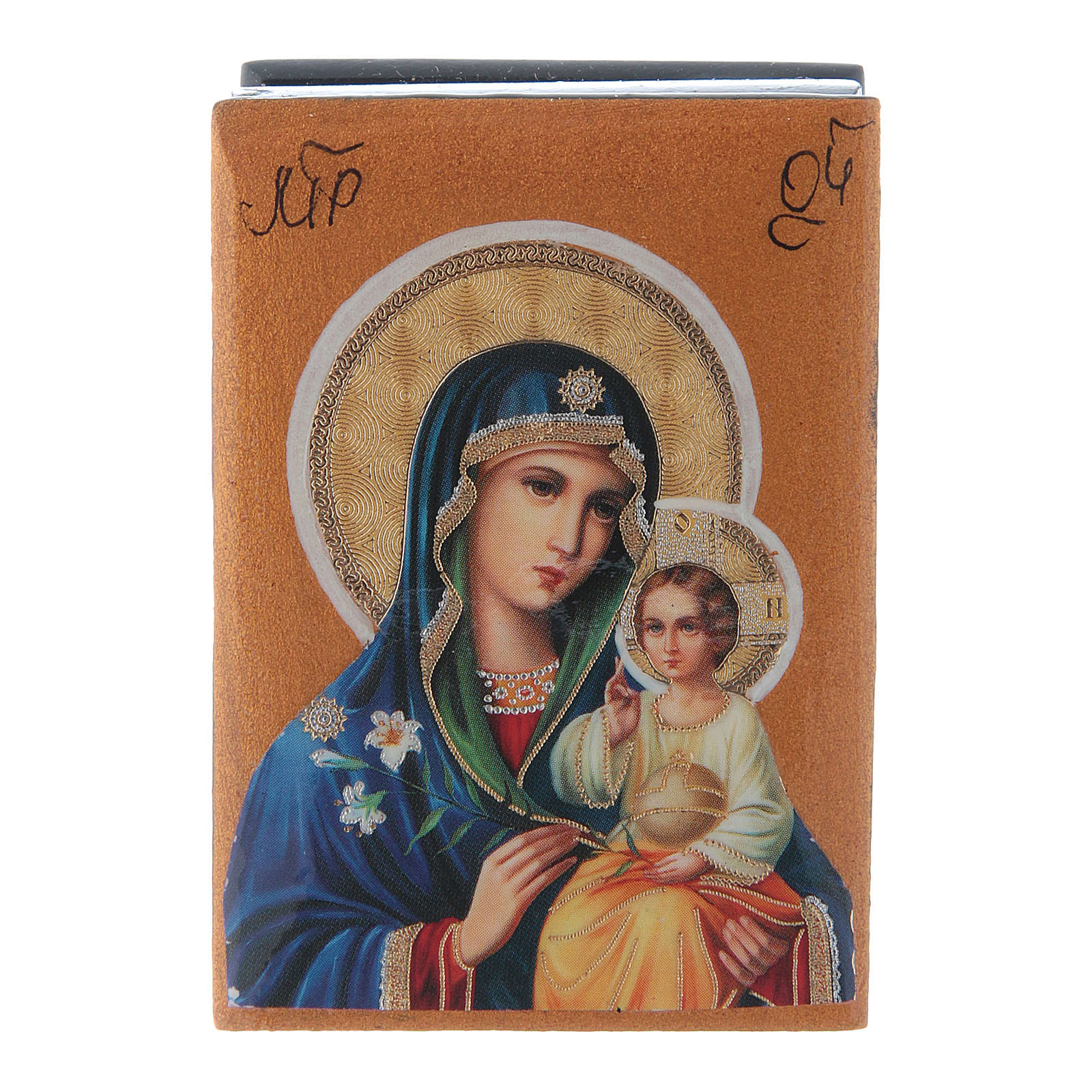 Russian papier-machè and lacquer box Mary- White Lily of the Blessed Trinity 7X5 cm 4