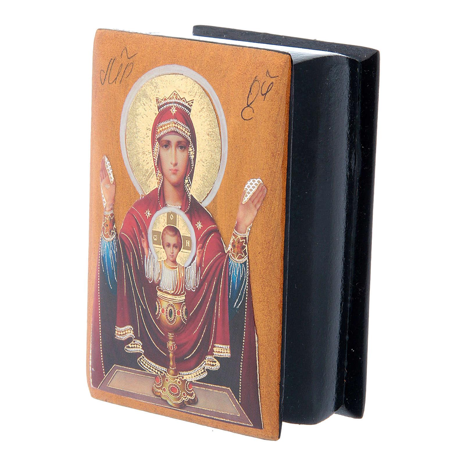 Boîte russe papier mâché Mère de Dieu Calice Inépuisable 7x5 cm 4