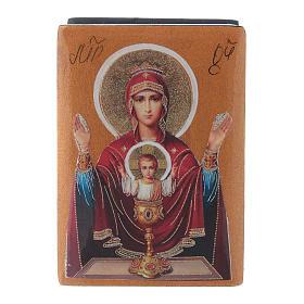 Boîte russe papier mâché Mère de Dieu Calice Inépuisable 7x5 cm s1