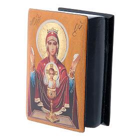 Boîte russe papier mâché Mère de Dieu Calice Inépuisable 7x5 cm s2