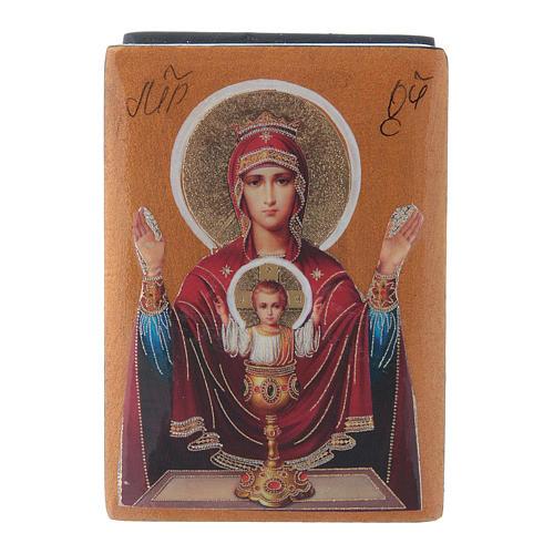 Boîte russe papier mâché Mère de Dieu Calice Inépuisable 7x5 cm 1