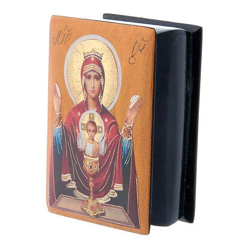 Boîte russe papier mâché Mère de Dieu Calice Inépuisable 7x5 cm 2