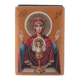 Russian papier-machè box Our Lady of the Infinite Chalice 7X5 cm s1