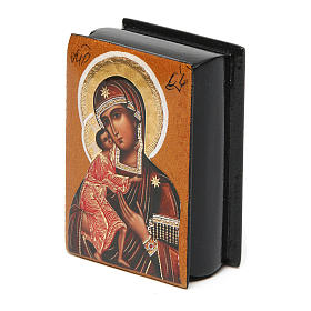Russian lacquer box Our Lady Feodorovskaya 7X5 cm s2