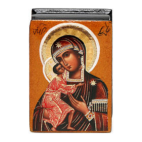 Russian lacquer box Our Lady Feodorovskaya 7X5 cm s1