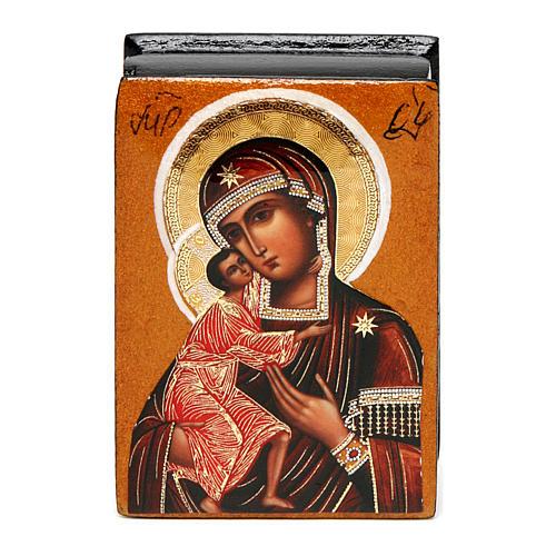 Russian lacquer box Our Lady Feodorovskaya 7X5 cm 1