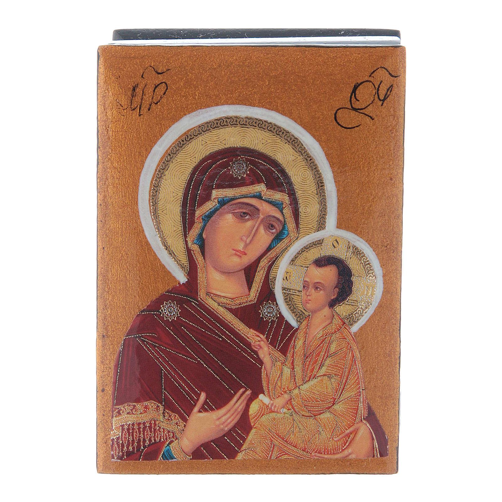 Scatola in decoupage russa Madonna Tikhvinskaya 7X5 cm 4