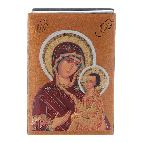 Scatola in decoupage russa Madonna Tikhvinskaya 7X5 cm 1