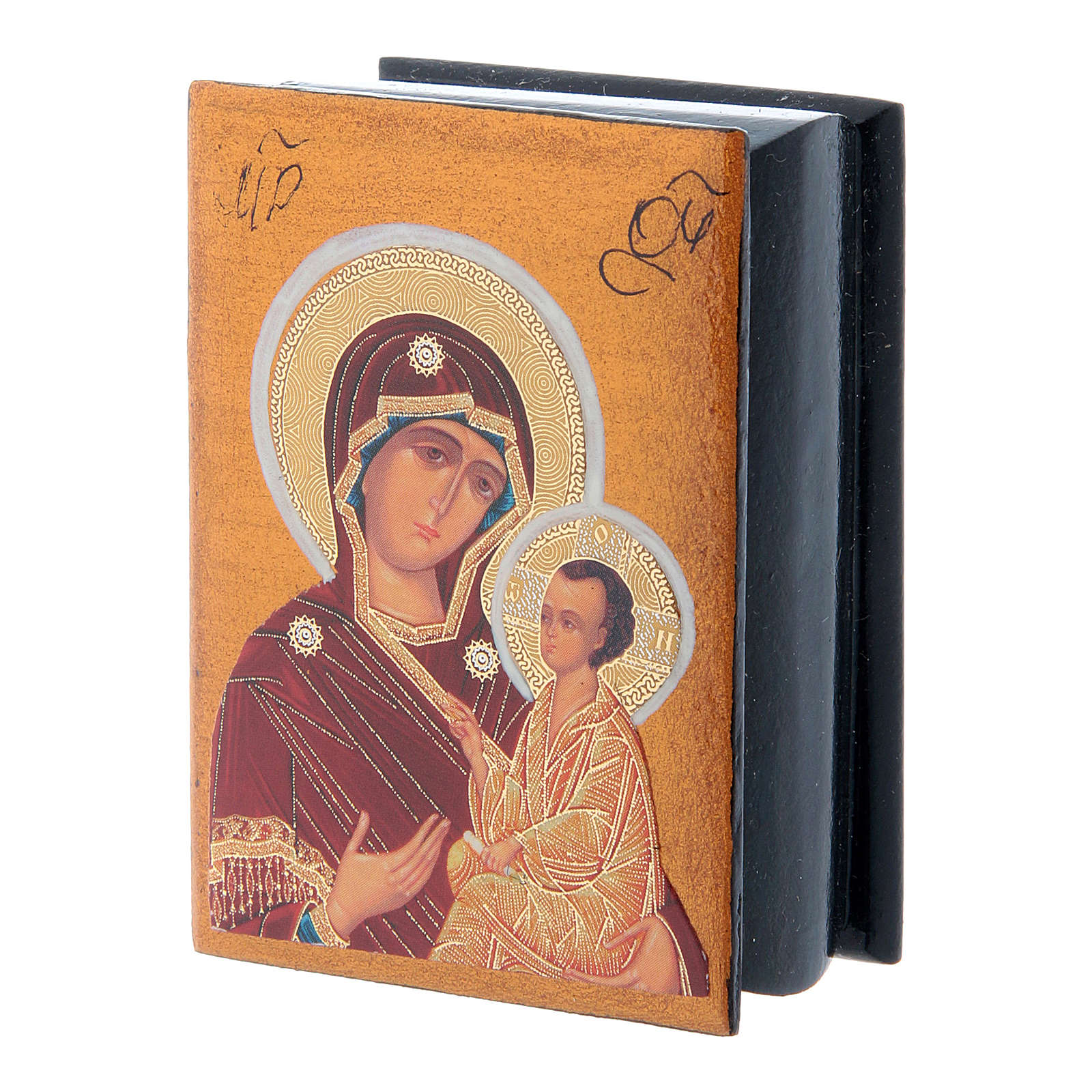 Russian decoupage box Our Lady Tikhvinskaya 7X5 cm 4