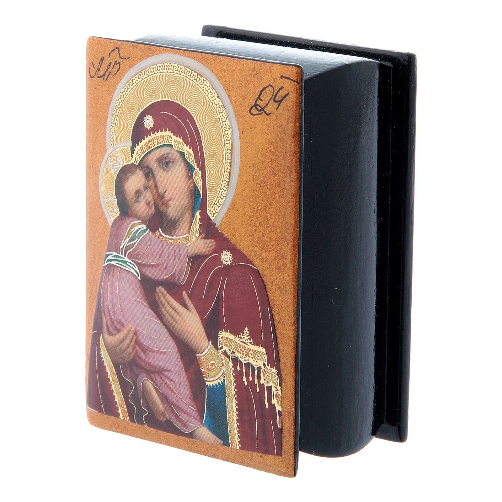 Scatola cartapesta papier machè russa Madonna Vladimirskaya 7X5 cm 4
