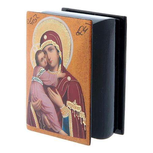 Scatola cartapesta papier machè russa Madonna Vladimirskaya 7X5 cm 2