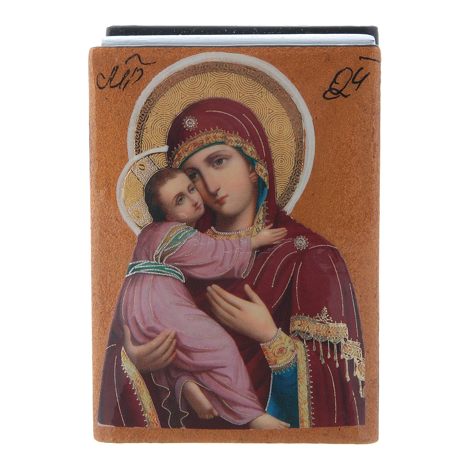 Russian papier-machè and lacquer box Our Lady of Vladimir 7X5 cm 4