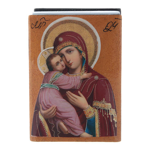 Russian papier-machè and lacquer box Our Lady of Vladimir 7X5 cm 1