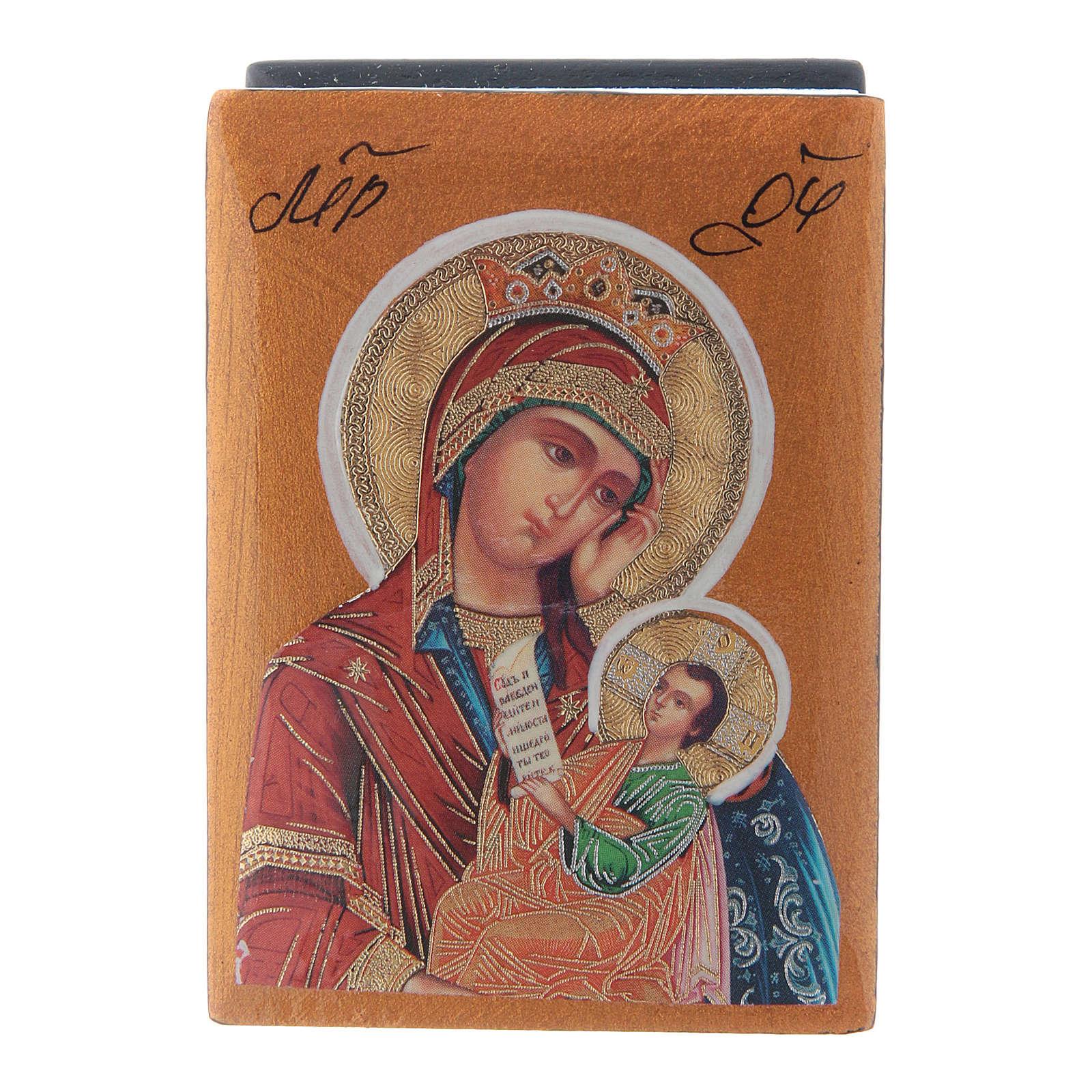Russian papier-machè box Our Lady stop my sadness 7X5 cm 4