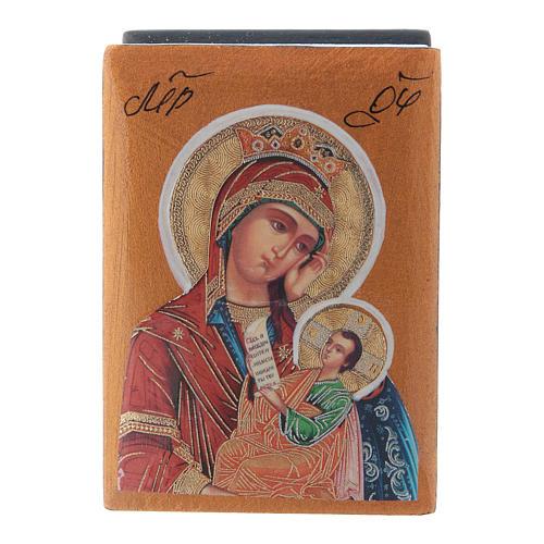 Russian papier-machè box Our Lady stop my sadness 7X5 cm 1