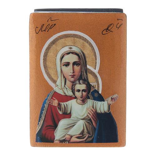 Scatola lacca papier machè russa Madonna sono con Te e nessuno contro 7X5 cm 1