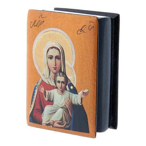 Scatola lacca papier machè russa Madonna sono con Te e nessuno contro 7X5 cm 2