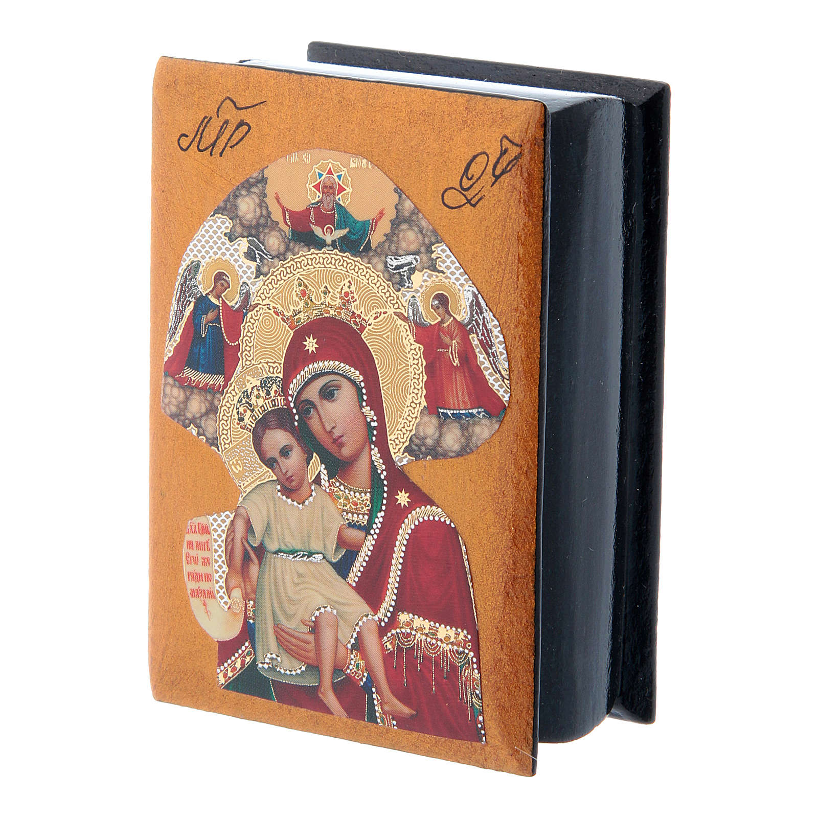 Russian papier-machè and lacquer box Our Lady of Perpetual Help 7X5 cm 4