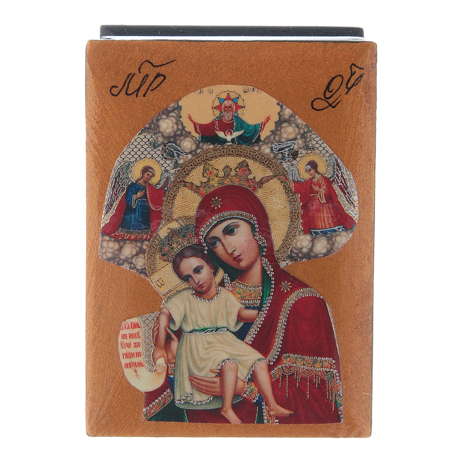 Scatola laccata russa Madonna del Perpetuo Soccorso 7X5 cm 4