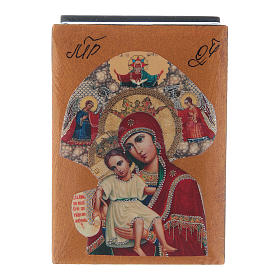 Russian papier-machè and lacquer box Our Lady of Perpetual Help 7X5 cm s1