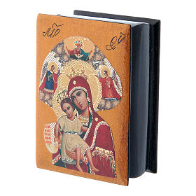 Russian papier-machè and lacquer box Our Lady of Perpetual Help 7X5 cm s2