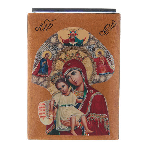 Russian papier-machè and lacquer box Our Lady of Perpetual Help 7X5 cm 1