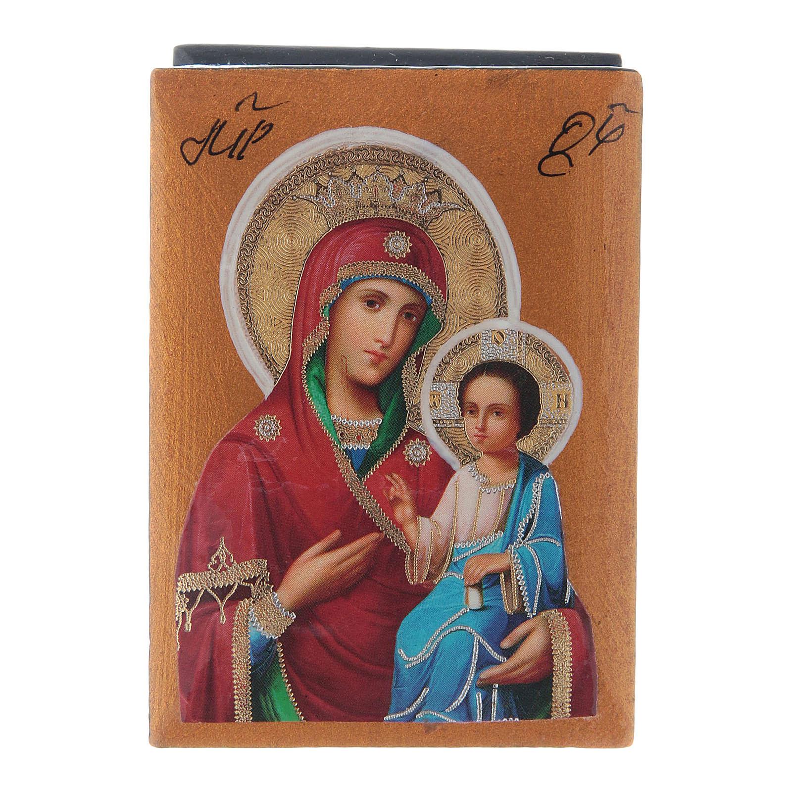 Scatola russa cartapesta Madonna Iverskaya 7X5 cm 4