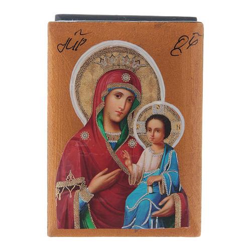 Scatola russa cartapesta Madonna Iverskaya 7X5 cm 1