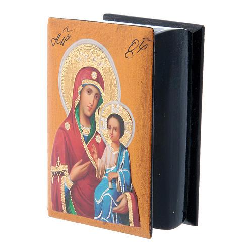 Scatola russa cartapesta Madonna Iverskaya 7X5 cm 2
