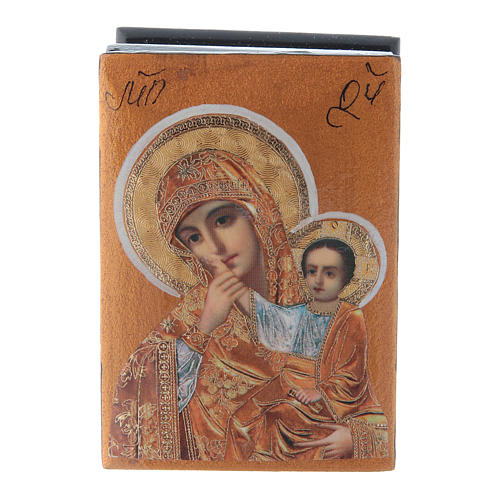 Russian decorated box Our Lady of Compassion 7X5 cm 1
