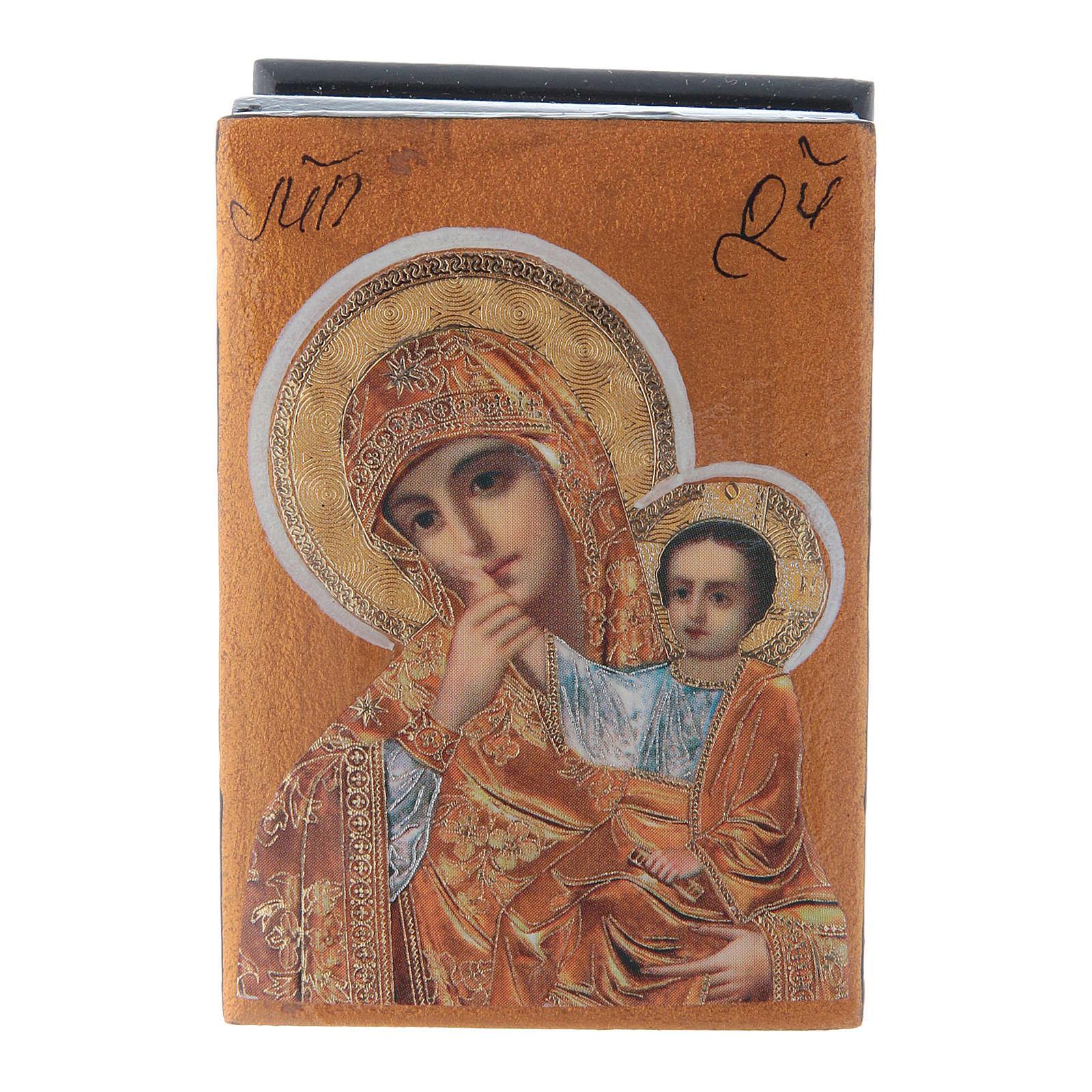Scatola russa decorata Madonna della Compassione 7X5 cm 4