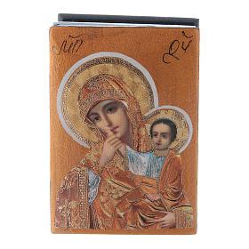 Scatola russa decorata Madonna della Compassione 7X5 cm s1