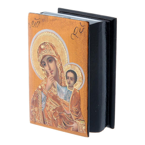 Russian decorated box Our Lady of Compassion 7X5 cm 2