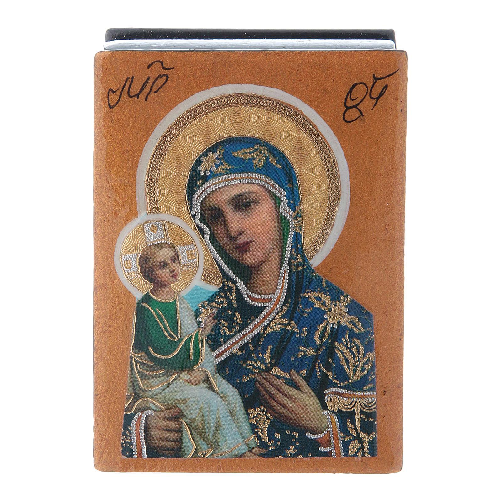Lacca russa papier machè decorata Madonna di Gerusalemme 7X5 cm 4