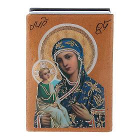 Lacca russa papier machè decorata Madonna di Gerusalemme 7X5 cm s1