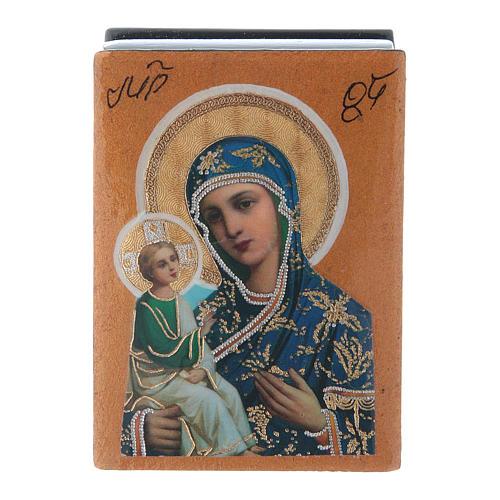 Lacca russa papier machè decorata Madonna di Gerusalemme 7X5 cm 1