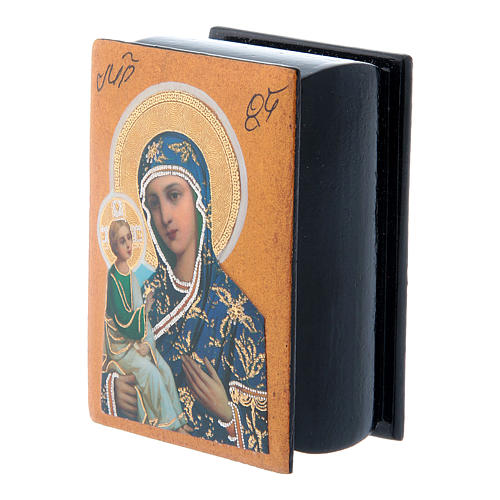 Lacca russa papier machè decorata Madonna di Gerusalemme 7X5 cm 2