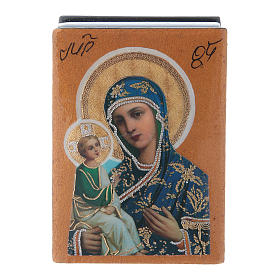Russian lacquer and papier-machè decorated box Our Lady of Jerusalem 7X5 cm s1