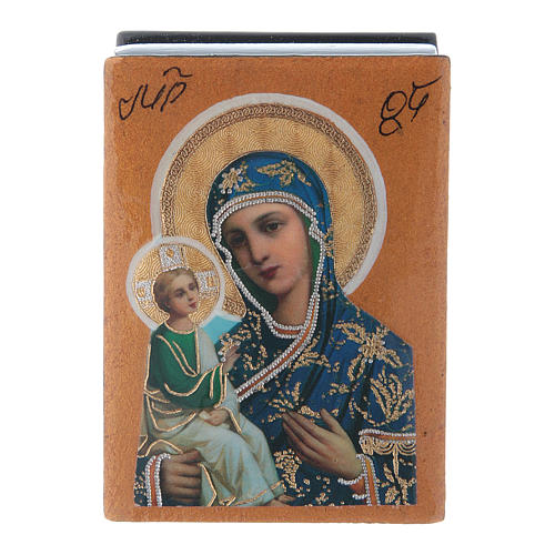 Russian lacquer and papier-machè decorated box Our Lady of Jerusalem 7X5 cm 1