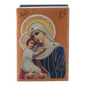 Scatola russa decoupage Madonna dell'aiuto ai defunti 7X5 cm s1